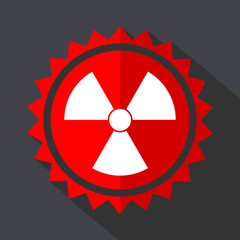 Radiation red sticker flat design vector icon