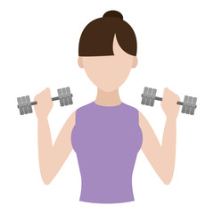 fitness woman training with dumbbels in her hands
