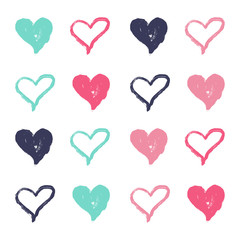Vector Illustration. Hand draw colorful set of heart for background