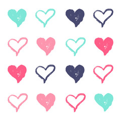 Vector Illustration. Hand draw colorful set of heart for background and design