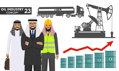 Oil industry concept. Illustration of arab muslim businessman, engineer and silhouette gasoline truck, oil pump in flat style. Petroleum barrel with dollar sign. Graph with trend line rising up.
