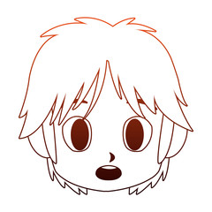 Manga boy face cartoon vector illustration graphic design