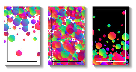 Three backgrounds with colour bubbles.