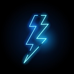 Blue Lightning Bolt Neon Light
