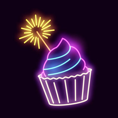 Neon Cupcake With A Sparkler