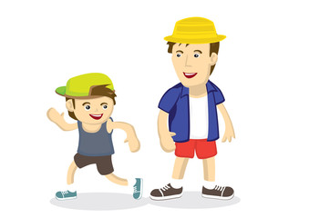 Vector cartoon illustration of the bonding between the father and son going for outdoor vacation. Suitable for father day illustration.