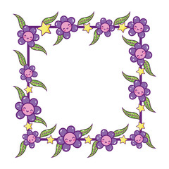 kawaii happy flowers and leaves to square decoration