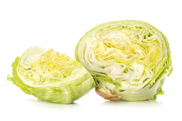 Sliced iceberg lettuce one section half and a quarter isolated on white background.