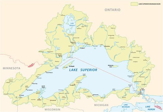 lake superior drainage basin vector map