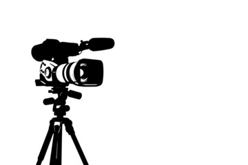 Professional video camera set on a tripod isolated on white background.