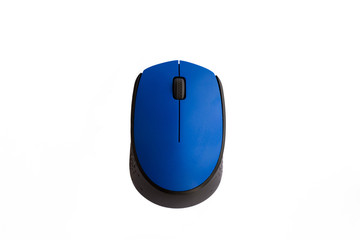 Computer mouse wireless blue isolated