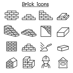 Brick icon set in thin line style