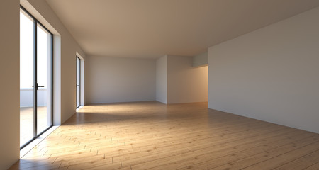 Realistic Empty Room With Big WIndow Doors In Sunny Day.3D Rendering