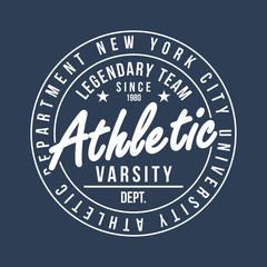 New York typography for t-shirt print. Athletic graphic for t-shirt. Varsity style