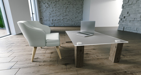 Realistic Armchair And Table With Laptop In Minimalistic Room. 3D Rendering