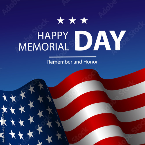 9444aa3eec66 Vector illustration of United States of America realistic flag and Text Memorial  Day on American flag background.