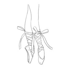 Hand drawn ballerina legs in a ballet pointe shoe. Outline, white background