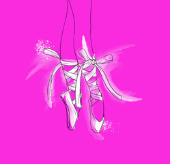 Hand drawn ballerina legs in a ballet pointe shoe, pink background, white watercolor.