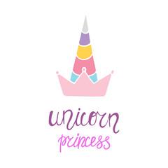 Unicorn princess colorful illustration.