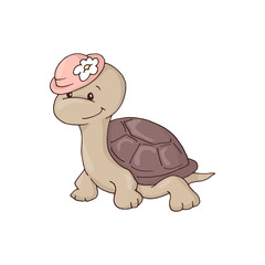 Cute charming girl cartoon turtle in a hat with a flower.