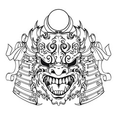 Face of demon, samurai face mask in line art style, black and white version, vector illustration isolated on white background