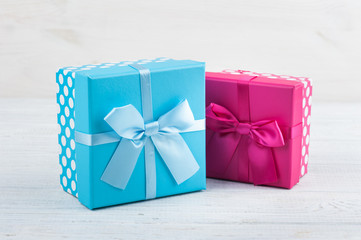 A red and blue present boxes