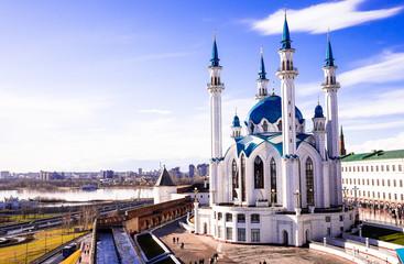 The Kol Sharif Mosque located in Kazan Kremlin, Kazan, The Republic of Tatarstan in Russia. One of the largest mosques in Russia. Kazan city panoramic view. The mosque serves as a museum.