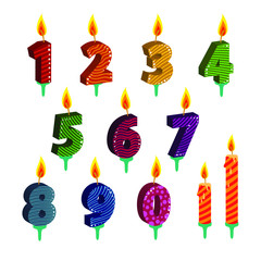 Set of number candles for happy birthday or some holiday, vector flat illustration isolated on white background