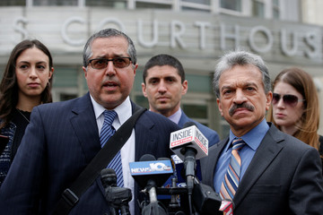 Attorneys representing Nxivm leader Keith Raniere, Marc Agnifilo and Paul DerOhannesian, speak during a news conferrence following a hearing at United States Federal Courthouse in Brooklyn, New York
