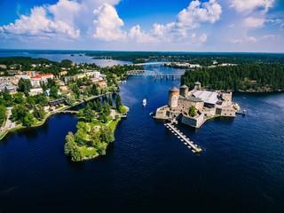 Aerial view of olavinlinna medieval castle in Savonlinna, Finland