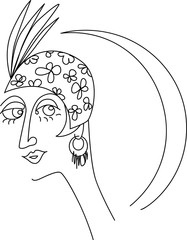 Fototapete - Line drawing of a woman's head art deco style, EPS 8 vector illustration