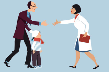 Father bringing a sick little girl to a female pediatrician, shaking hands with a doctor, EPS 8 vector illustration