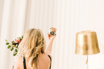 girl flowers takes pictures herself cassette camera