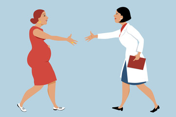 Pregnant woman visiting a female OB-GYN, shaking hands with a doctor, EPS 8 vector illustration