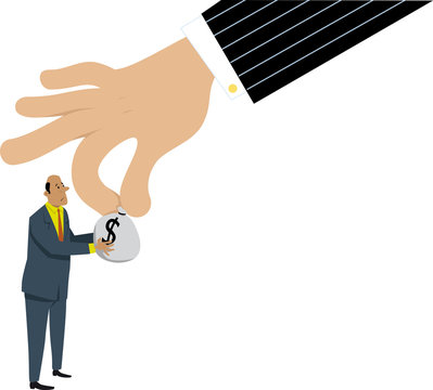 Upset businessman giving a bag of taxes money to a government hand or to racketeer, EPS 8 vector illustration