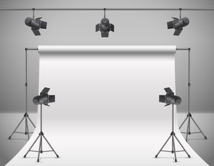 Vector 3d realistic photo, video studio with spotlights, white background. Mock up of photography professional equipment, stands and illumination