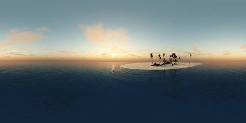 HDRI, environment map , Round panorama, spherical panorama, equidistant projection,tropical landscape, beach with palm trees at sunset, sun over water, island in the ocean at sunrise
