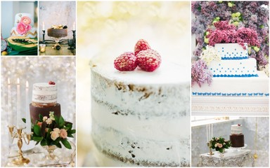 Collage of unusual and beautiful wedding cakes with flowers and berries.