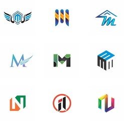 m, n, mn, nm letter logo design for template, creative, identity, and website