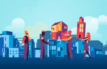 Società che collabora nella costruzione di una città