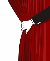 Hand opening curtain
