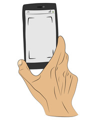 Hands holding smartphone vector drawing