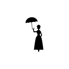 fairy with umbrella silhouette. Element of fairy-tale heroes illustration. Premium quality graphic design icon. Signs and symbols collection icon for websites, web design, mobile