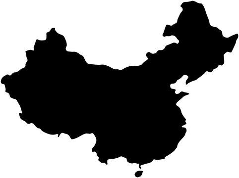 China country Map illustration black.