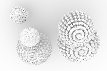 Spheres from squares, modern style soft white & gray background. Creative, light, space & digital.