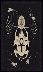 Tarot cards - back design. Scarab beetle, symbol of ancient Egypt