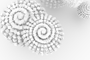 Spheres from squares, modern style soft white & gray background. Shape, generative, blur & backdrop.