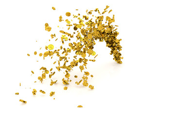 Bunch of money, gold, dollar sign or coins flow from the floor, modern style background or texture.