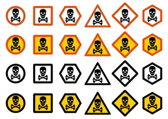 Industry concept. Set of different warning signs: chemical, radioactive, dangerous, toxic, poisonous hazard. Danger sign with skull and bones. Vector illustration.
