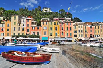 The harbour at Portofino, Golfo del Tigullio, Liguria, Italian Riviera, Italy.